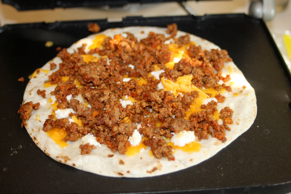 Breakfast Chorizo Quesadilla Topped With A Fried Egg ...